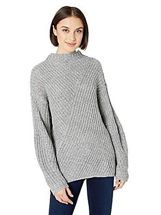 William Rast Womens Robbin Oversize Mock Neck Sweater, Grey/White Medium