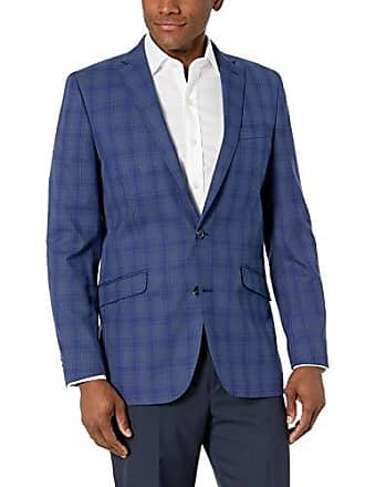 Kenneth Cole Reaction Mens Slim Fit 2 Button Blazers, Medium Blue Plaid, 40 Regular