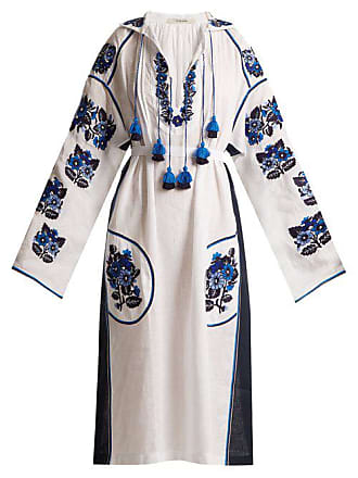 Vita Kin Pressed Flower Embroidered Mid Weight Linen Dress - Womens - White Navy
