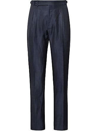 Zanella Midnight-blue Nico Tapered Pleated Virgin Wool And Linen-blend Trousers - Midnight blue