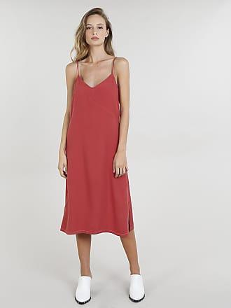 a0a3e44bdd C A Vestido Midi Feminino Mindset com Fenda Alças Finas Vermelho