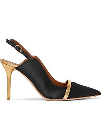 febf580d7 Malone Souliers Marion 85 Metallic Leather-trimmed Satin Slingback Pumps -  Black