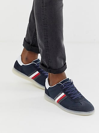 34e8a124bbfa3 Tommy Hilfiger mixed fabrication trainer with contrast sole and flag in navy