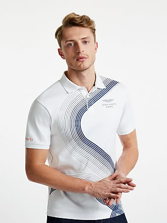 Aston Martin Mens Print Polo Cotton Shirt | Small | White