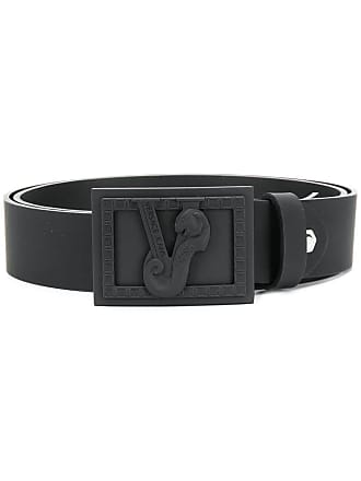 Versace Jeans Couture logo plate buckle belt - Black