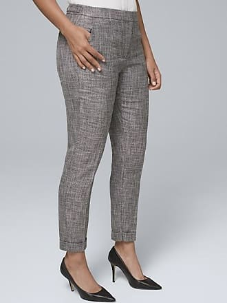 White House Black Market Womens Curvy-Fit Textured Suiting Slim Ankle Pants by White House Black Market, Gray, Size 0 - Regular