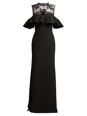 Alexander McQueen Robe de soirée en crêpe et dentelle fleurie 8421496ec62