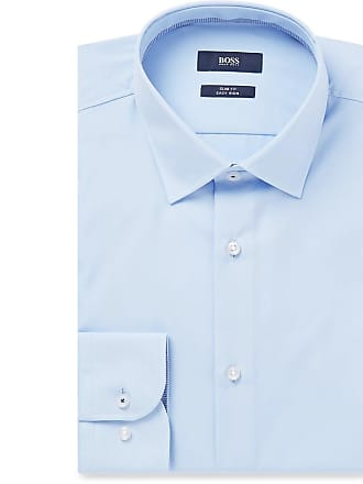 HUGO BOSS Light-blue Jesse Slim-fit Cotton-poplin Shirt - Blue