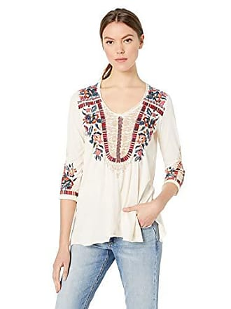 d283b72fc16ca Johnny Was Womens 3 4 Sleeve Knit Drape Top with Embroidery