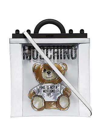 Moschino transparent teddy print tote bag - White