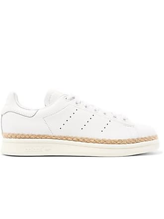 3f6b9f021b2 adidas Originals Baskets En Cuir À Finitions En Corde Stan Smith Bold -  Blanc