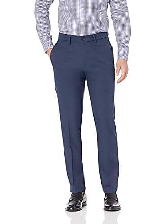 Haggar Mens Cool 18 Pro Slim Fit Premium Flex Flat Front Pant, Navy, 34Wx29L