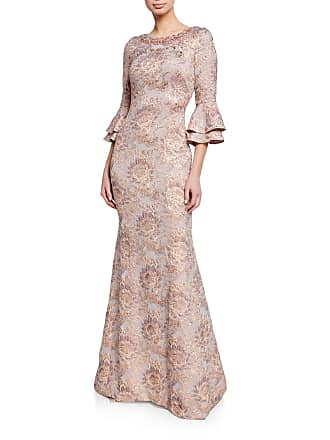 53faca9074 Theia Beaded Bateau-Neck Tiered Bell-Sleeve Tissue Cloque Trumpet Gown