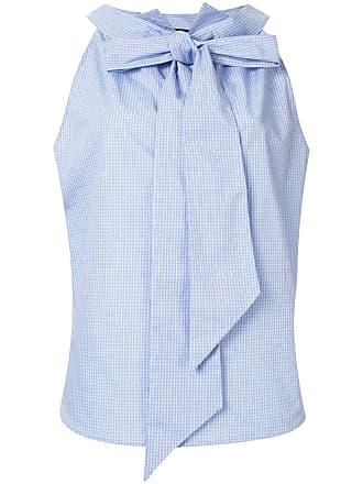 JEJIA Camisa sem manga com amarração na gola - Azul