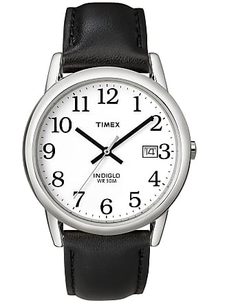 Timex Watch Mens Easy Reader 35MM Leather Strap Silver-Tone/black/white Item T2H2819J