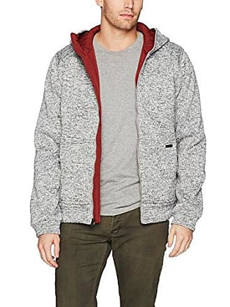 William Rast Mens Fleece Hooded Jacket, Heather/Rust, X-Large