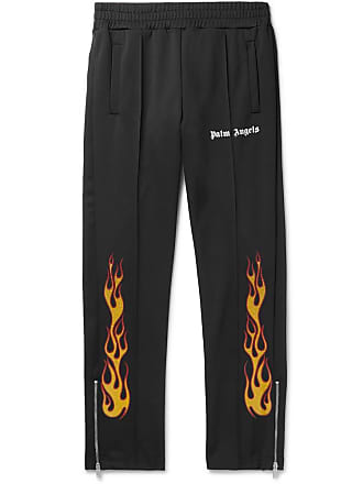 Palm Angels Tapered Glittered-print Tech-jersey Track Pants - Black