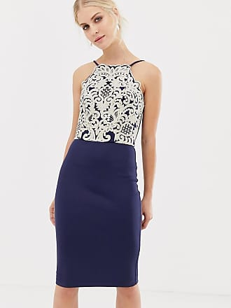 Chi Chi London midi pencil dress with gold embroidery in navy - Navy