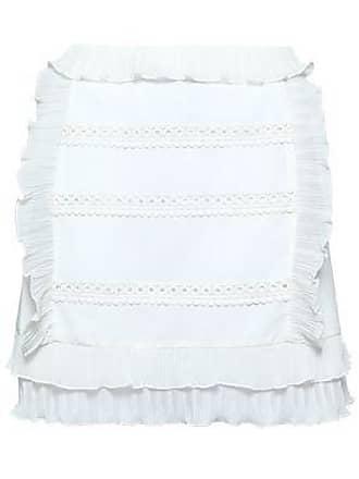 Iro Iro Woman Ruffled Plissé Gauze-trimmed Crepe De Chine Mini Skirt Ivory Size 38