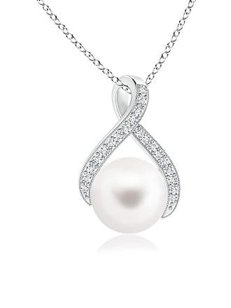 Angara Valentine Day Sale - Freshwater Cultured Pearl Swirl Ribbon Pendant with Diamonds