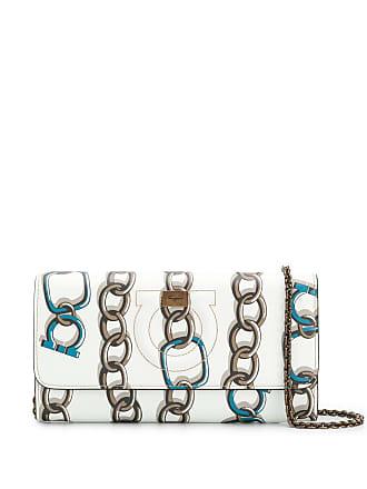 Salvatore Ferragamo chain print crossbody bag - Branco