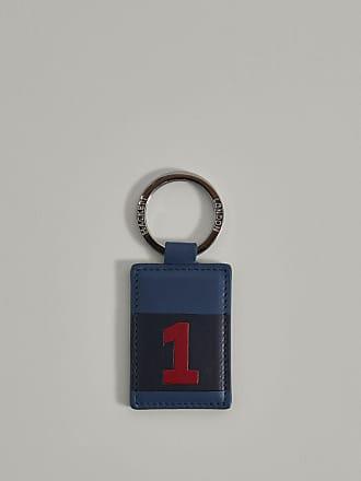 Hackett No.1 Detail Leather Keyring | Navy/Yellow