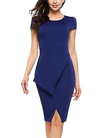4ccf952441ed67 ACEVOG Damen Elegant Casual Business Kleid Petticoat Etuikleid  Bleistiftkleid Kurzarm Rundhals Knielang Abendkleid Mit Schlitz -