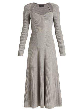 Alexander McQueen Robe manches longues en laine à décolleté ... 907be815e4e