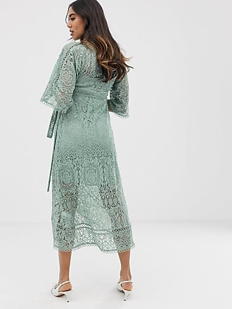 bd729b6f28 Asos Maternity ASOS DESIGN Maternity lace wrap midi dress - Green