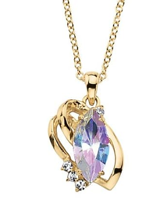PalmBeach Jewelry Marquise-Cut Aurora Borealis Crystal Freeform Loop Pendant Necklace 14k Gold-Plated with White Crystal Accents 18