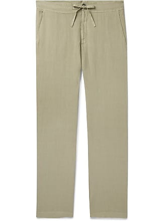 120% CASHMERE Garment-dyed Linen Drawstring Trousers - Green