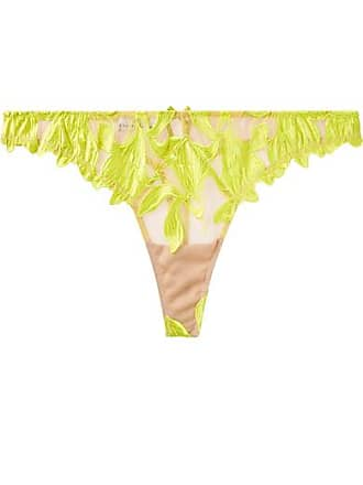 422373e44e Fleur du Mal Lily Neon Embroidered Satin And Stretch-tulle Thong -  Chartreuse