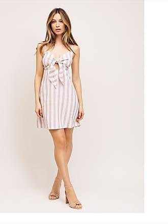 Dynamite Lily Linen Knot Front Dress Beige Stripe