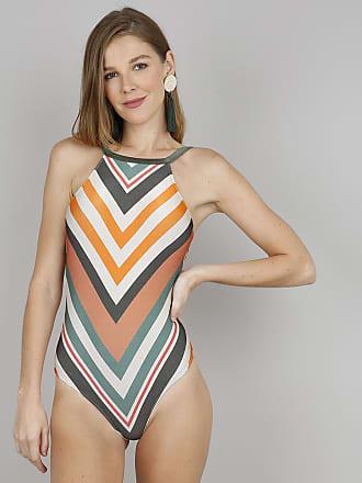 C&A Maiô Body Feminino Halter Neck Estampado Geométrico Com Bojo e Proteção UV+50 Verde