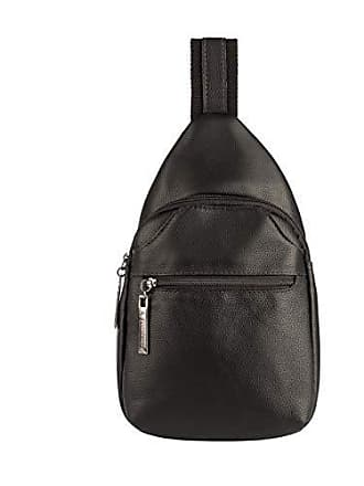 Vira Vento Mini mochila transversal de couro masculina Jeff preta