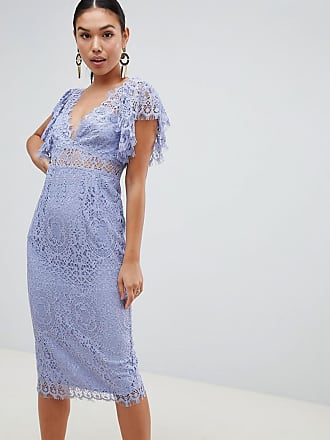 9fe904f606fa55 Asos Lace Pencil Midi Dress With Frill Sleeve