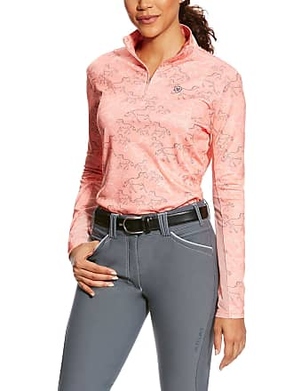 9d84bf1f Ariat Womens Sunstopper 1/4 Zip Long Sleeve in Peach Twig Print, Size X