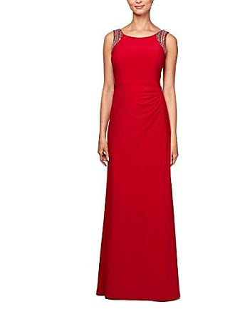 Alex Evenings Womens Beaded Scoop Back Dress with Side Ruched Skirt, Crimson, 10