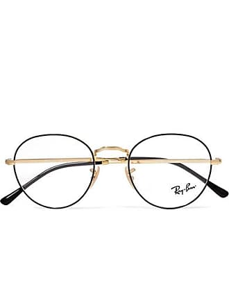 Ray-Ban Round-frame Acetate And Gold-tone Optical Glasses - Black