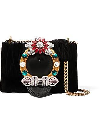 Miu Miu Miu Lady Crystal-embellished Leather And Matelassé Velvet Shoulder  Bag - Black 755cfb251ae96