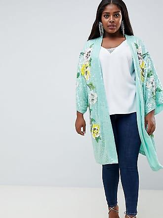 ed7a1187ae Asos Curve Chaqueta de kimono con estampado floral y adornos de ASOS DESIGN  Curve