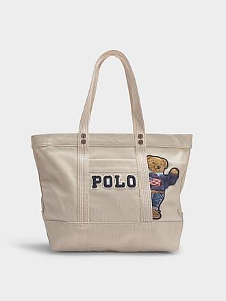 Polo Ralph Lauren Petit Cabas PP Tote Teddy Bear en Toile Crème eba43fcae77