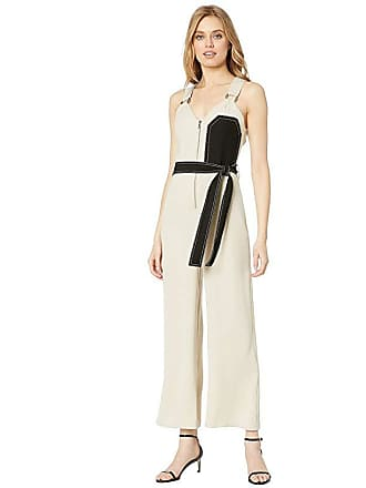 Yigal AzrouËl Sleeveless Overall with Chest Patchwork (Sand) Womens Jumpsuit & Rompers One Piece