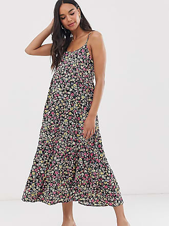 27da4c499791e New Look Maternity strappy tier midi dress in black floral pattern