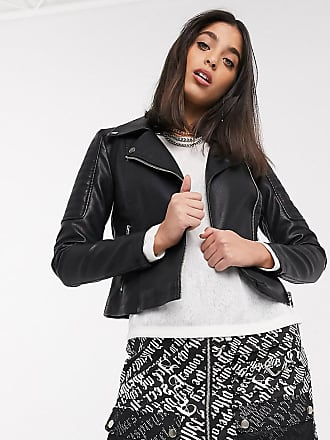 Noisy May leather look biker jacket in black