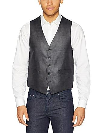 Kenneth Cole Reaction Mens Techni-Cole Stretch Slim Fit Suit Separate Vest (Blazer, Pant, and Vest), Gunmetal Basketweave, Medium