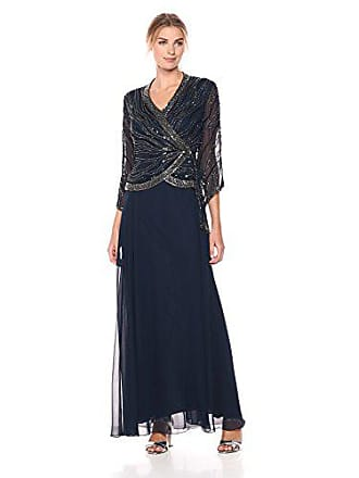 38448a5ba6bec J Kara Womens Long 3/4 Sleeve V-Neck Beaded Faux Wrap Dress,