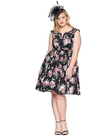 Unique Vintage Plus Size Olive Swing Dress (Black Floral) Womens Dress