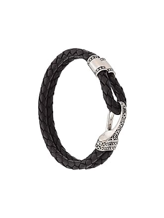Nialaya Bracelete duplo de couro - Preto