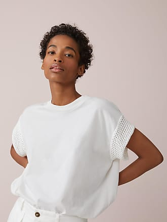 Closed T-Shirt mit Häkeldetails ivory